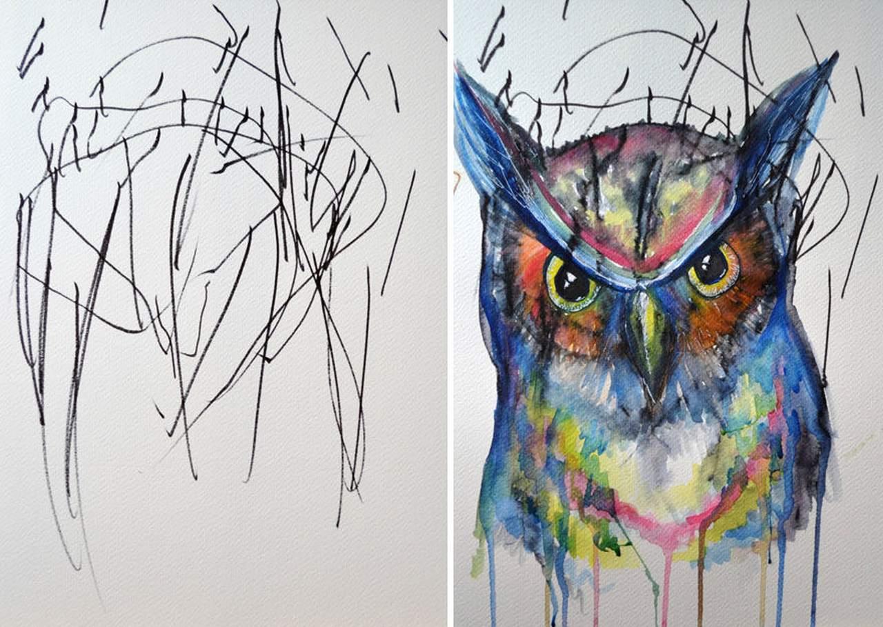 Eccezionale La mamma che trasforma in opere d'arte i disegni della figlia  QP81